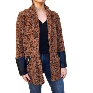 Joseph Ribkoff Knit Faux Leather Cardigan